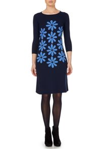 Floral placement shift knitted dress