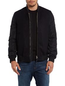 Mixed fabric bomber