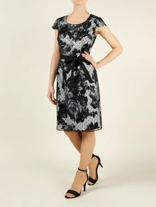 Ikat floral spot shift dress