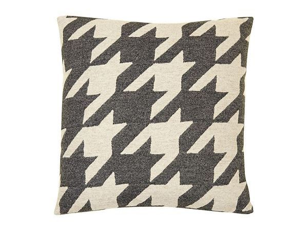 Image of Tori Murphy Dogtooth cushion in coal and linen 40x40