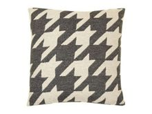 Dogtooth cushion in coal and linen 40x40