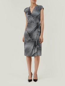 Printed tie front dress