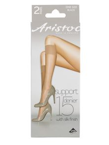Aristoc 2 pair pack 15 denier support knee high socks