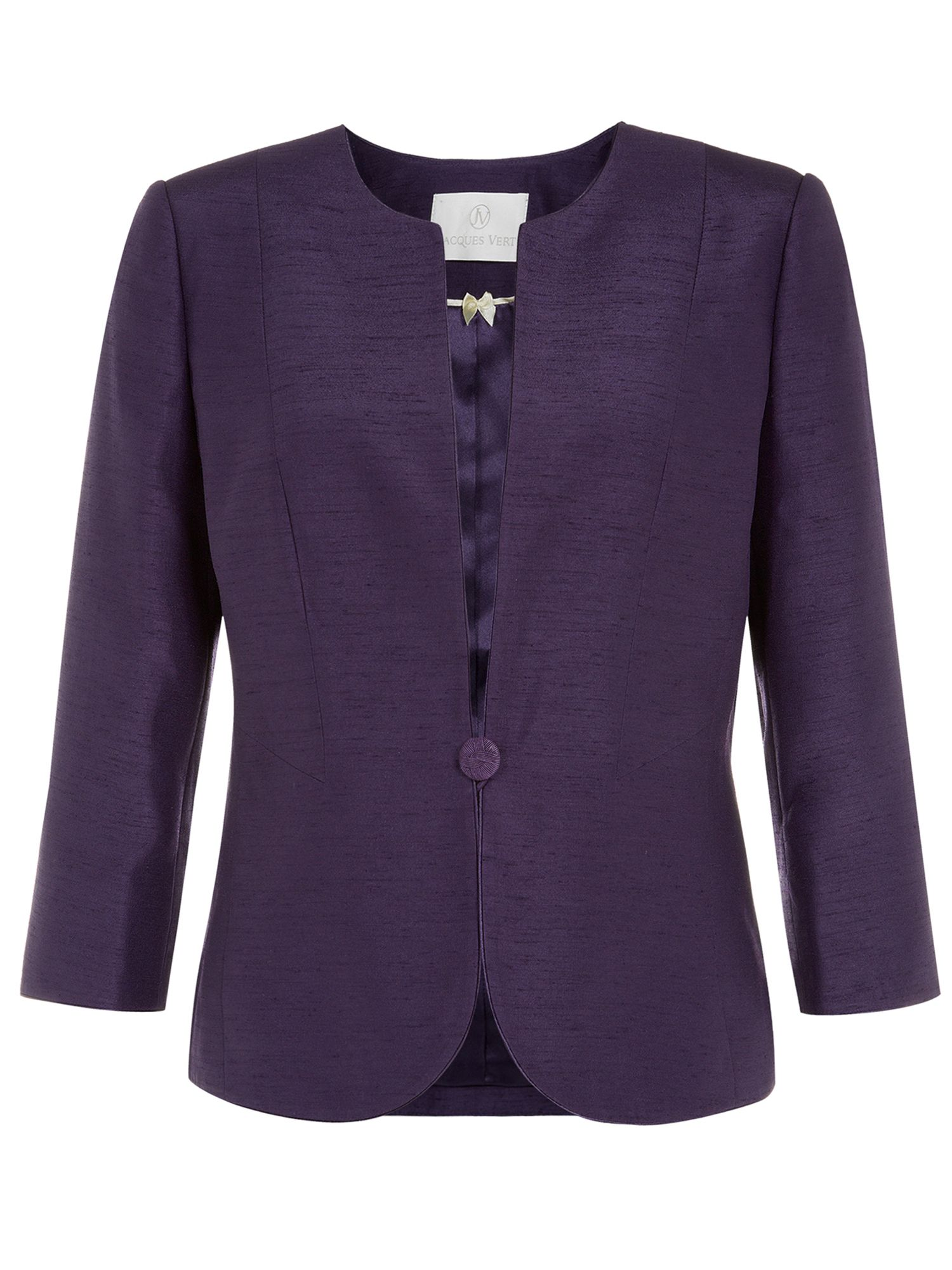 Collarless one button jacket