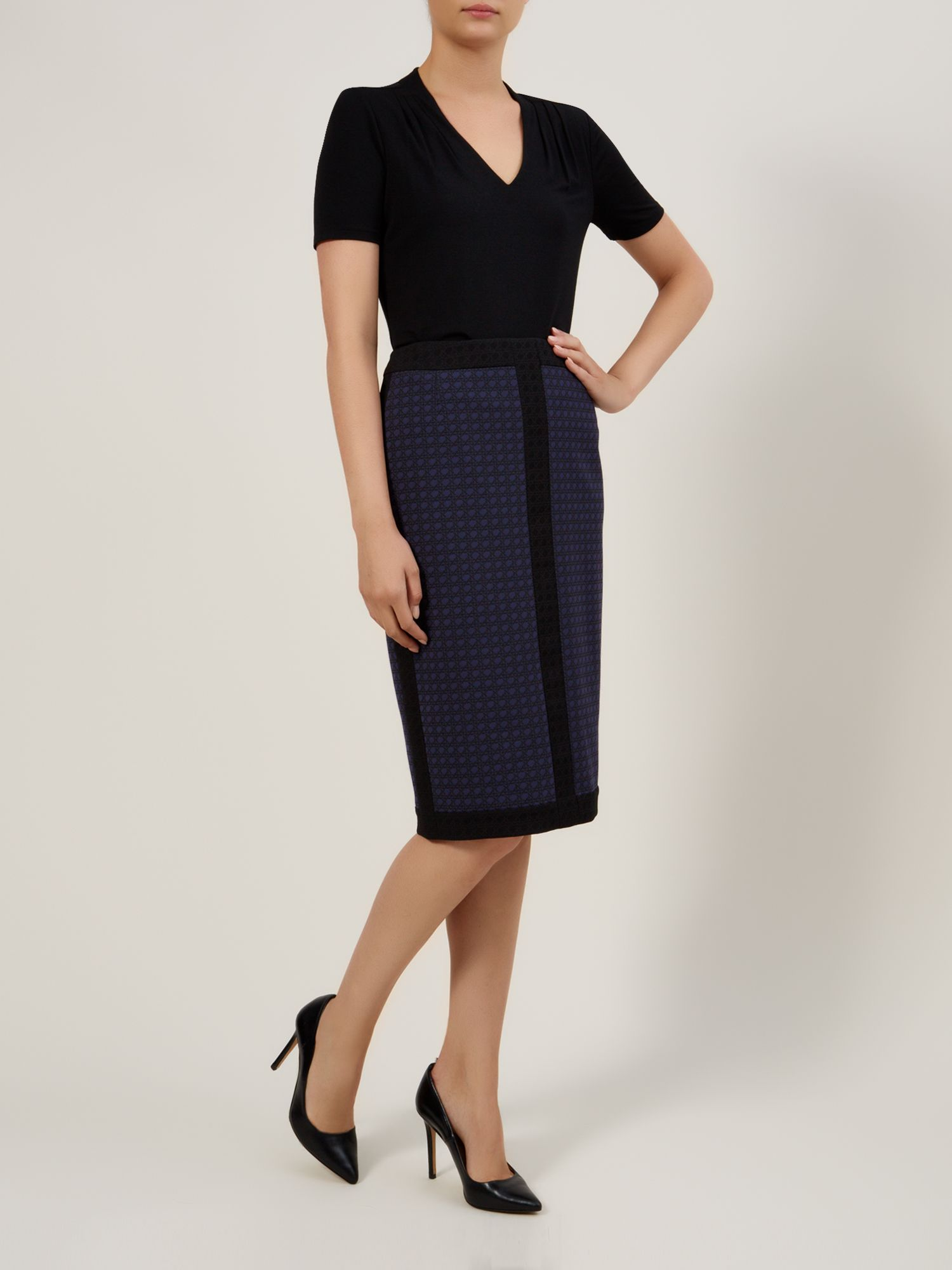 Navy & black jacquard skirt