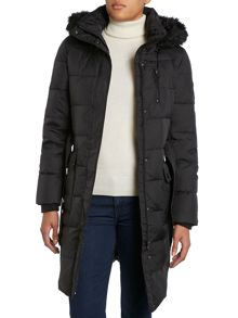 Horizontal belted down with faux fur hood