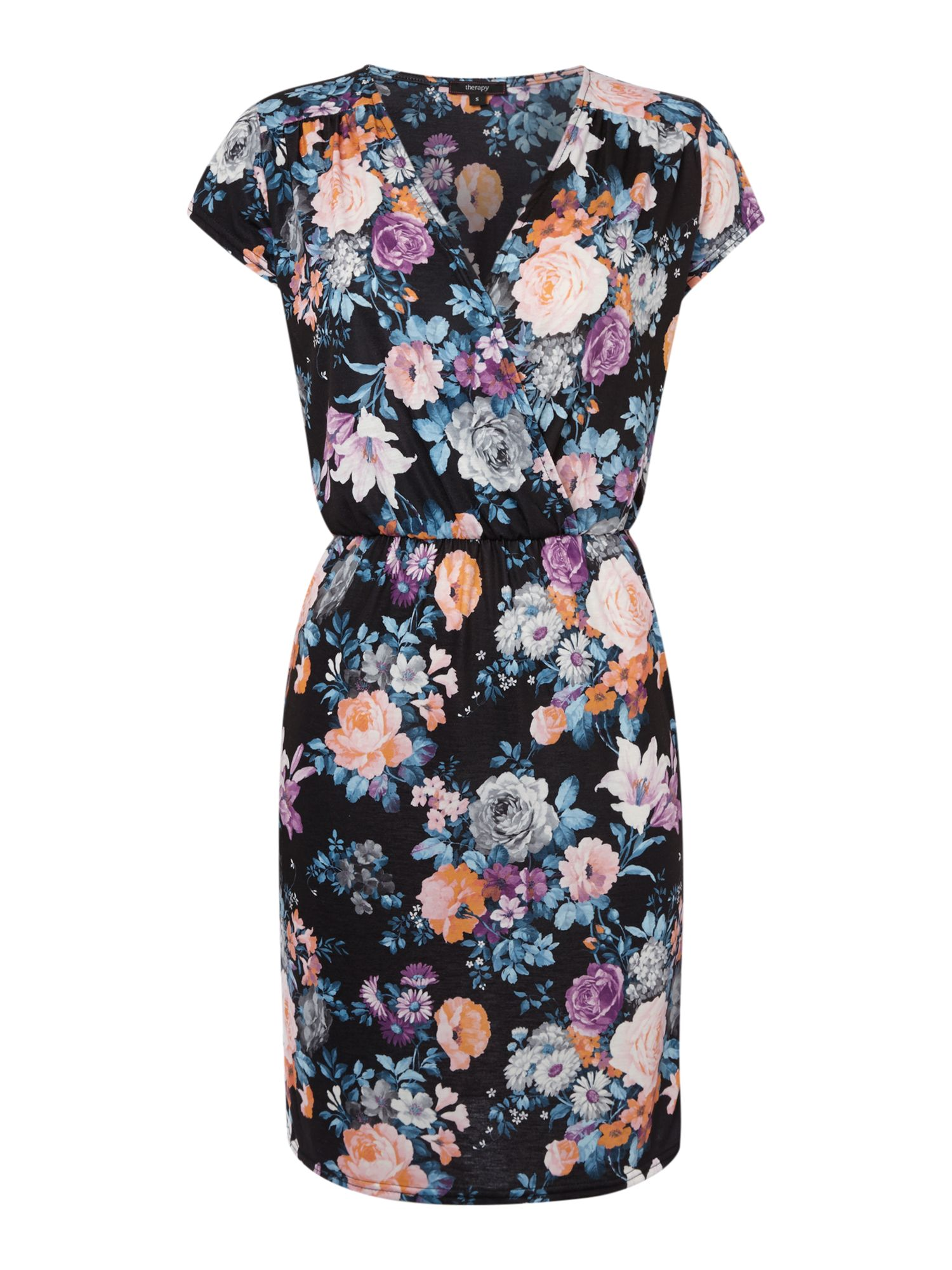 Large floral wrap dress