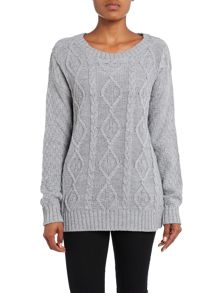 Glamorous Cable knit elbow patch jumper