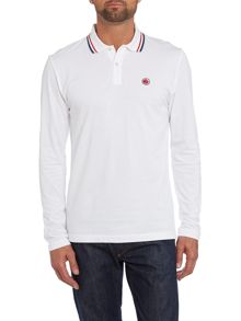 Tipped collar long sleeve polo shirt