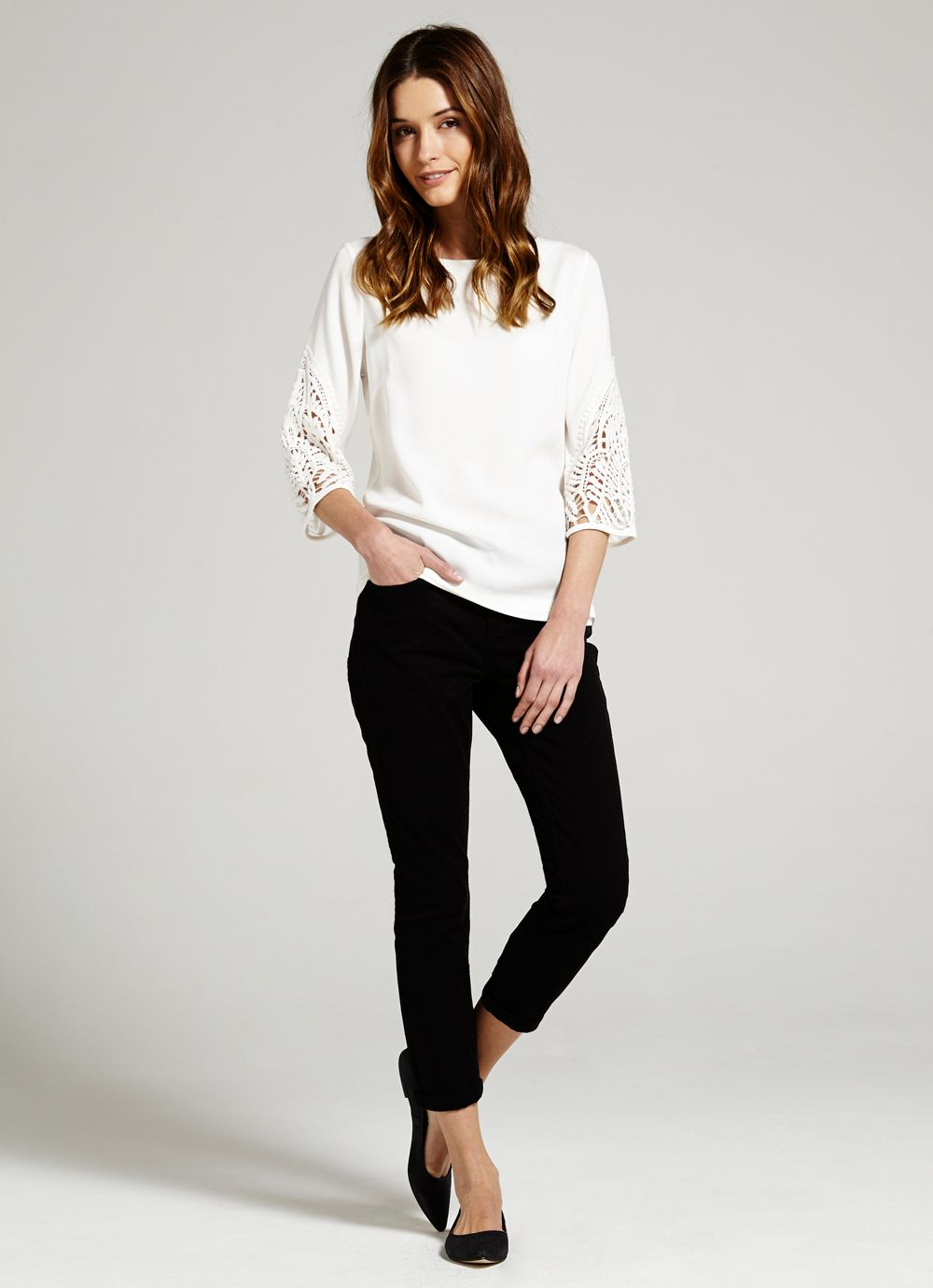 Ivory Lace Sleeve Top