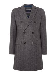 Ginon double breasted herringbone overcoat