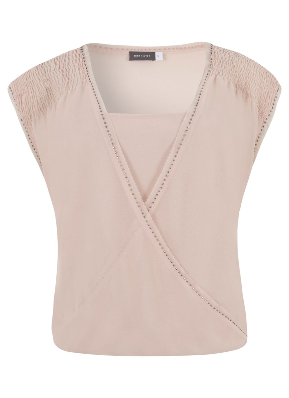 Nude Beaded Wrap Top