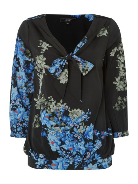 Therapy Frill neckline floral print blouse
