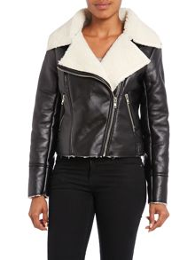 Faux sherling aviator style jacket