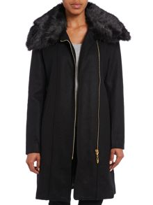 Fur collar oversized zip front jacket