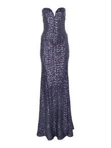 Strapless Sequin Maxi Dress