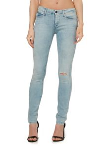 Mid rise skinny jeans in ocean blue stretch