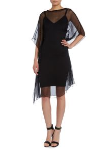 Short Sleeved dress with a chiffon layer