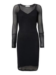 Long sleeved dress with a mesh layer