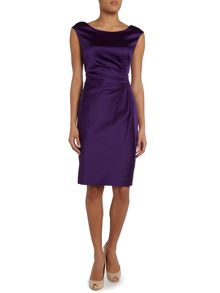 Aurelia cap sleeve dress with side pleat