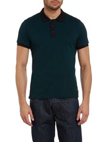 Mens short sleeve herringbone polo top