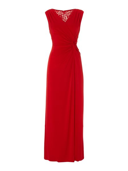 Ellen Tracy Sleeveless lace V neck gown