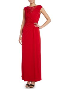 Sleeveless lace V neck gown