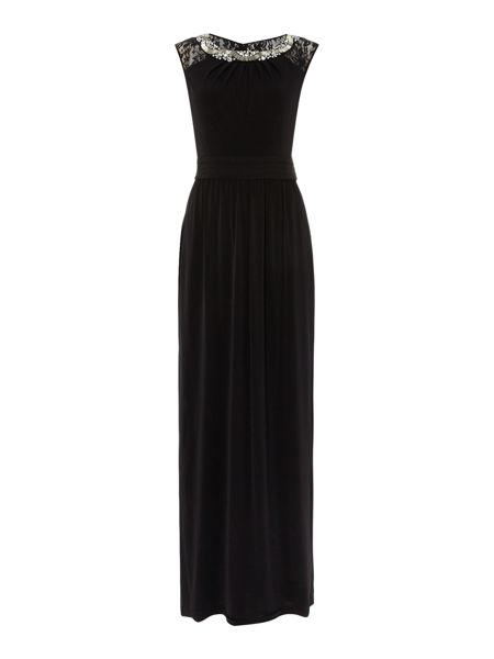 Ellen Tracy Sleeveless gown with embellished neckline