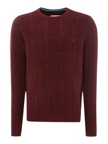 Crew neck lambswool cable knit jumper