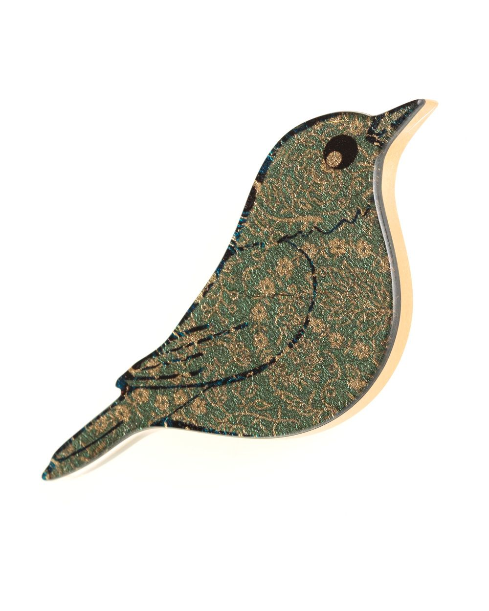 Fern Print Bird Brooch