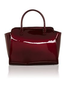 Red medium patent tote bag