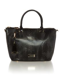 Neutral and black large snake tote bag
