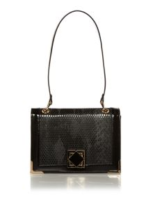 Neutral and black snake shoulder bag
