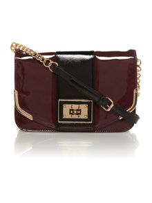 Red and black colourblock flapover shoulder bag