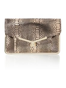 Black and gold snake clutch bag