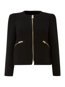 Long sleeve wool bolero jacket with zip pockets
