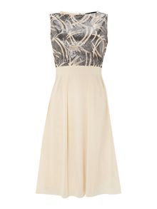 Beaded Top Sleeveless Fit and Flare Dress