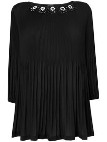 Tia embellished pleat blouse