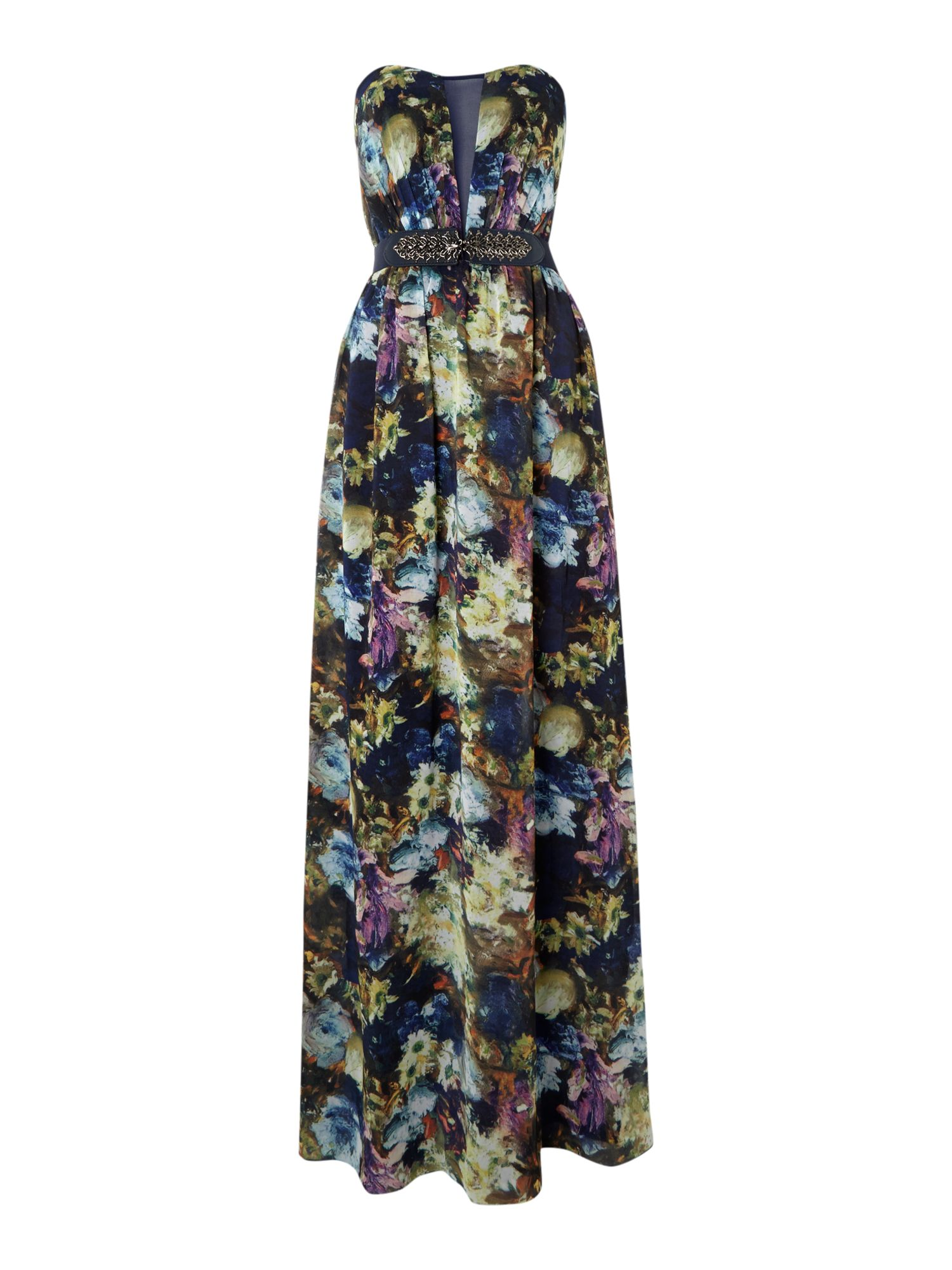 Floral Bandeau Strapless Embellished Dress