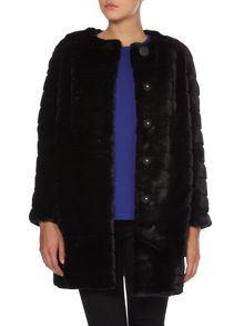 Long sleeved faux fur coat