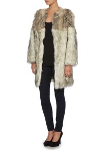Long sleeved tonal faux fur coat