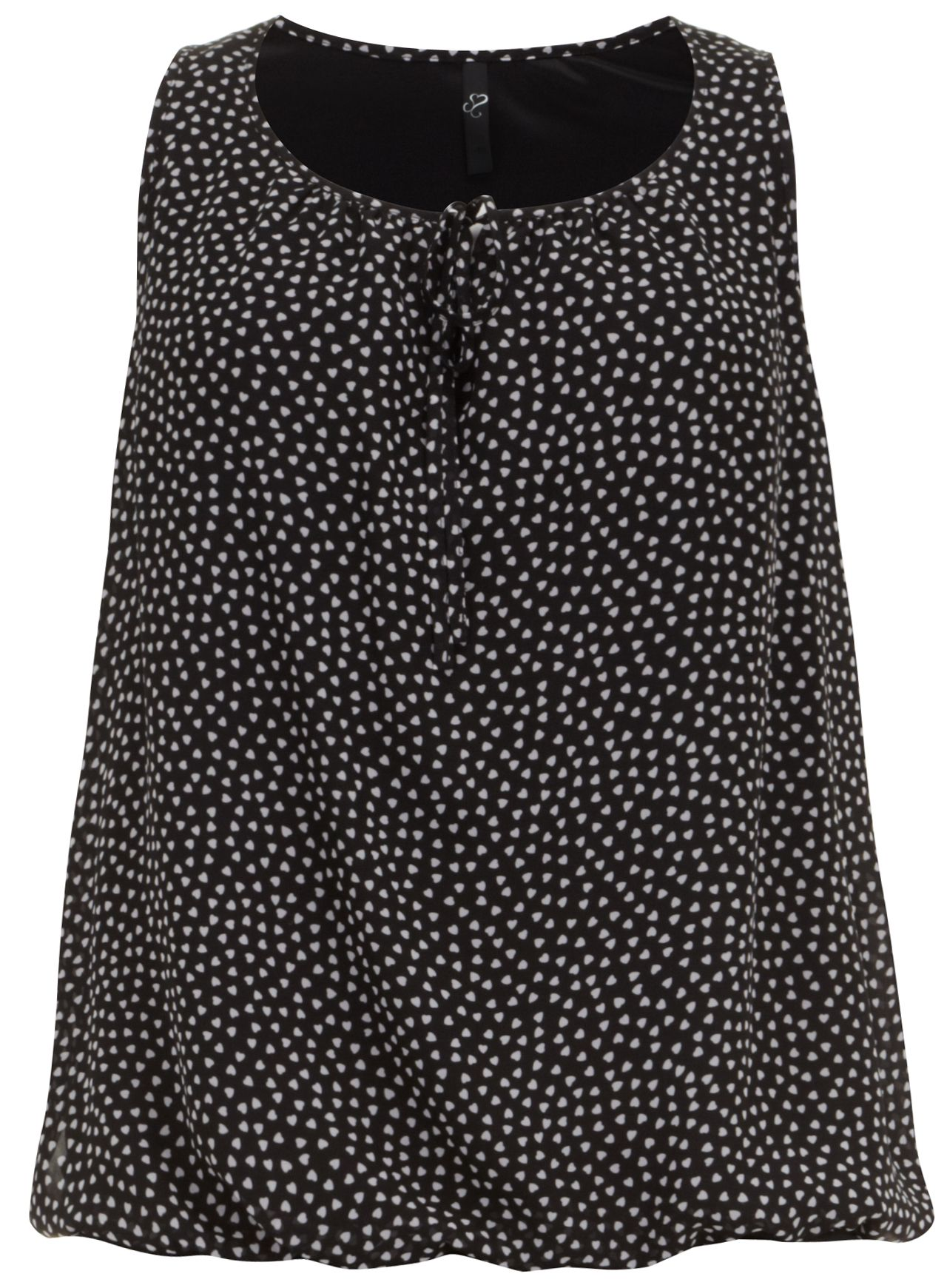 Heart print sleeveless bubble hem top