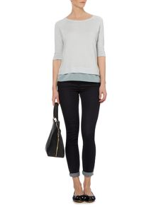 Knit Woven Layer Top
