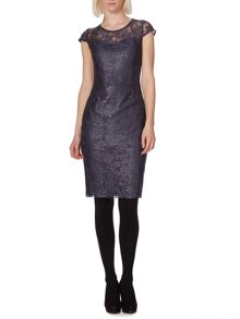 Metallic lace bodycon dress