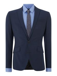 Hendrickson grid pattern slim fit suit jacket