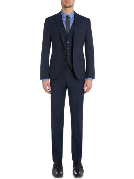 Kenneth Cole Hendrickson Grid Pattern Slim Fit Suit Trousers
