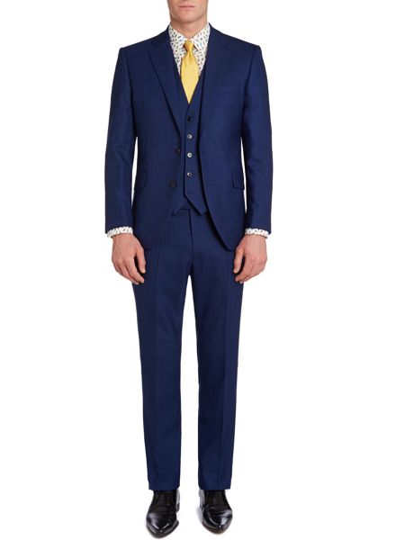 New & Lingwood Anderby herringbone suit trousers