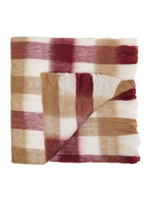 Red and natural plaid blanket