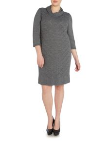 Giglio wool mix crochet cowl neck dress
