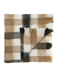 Linea Blue and natural plaid blanket